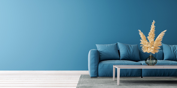 Modern living room design with empty blue mock up wall and blue sofa 3D Rendering, 3D Illustration