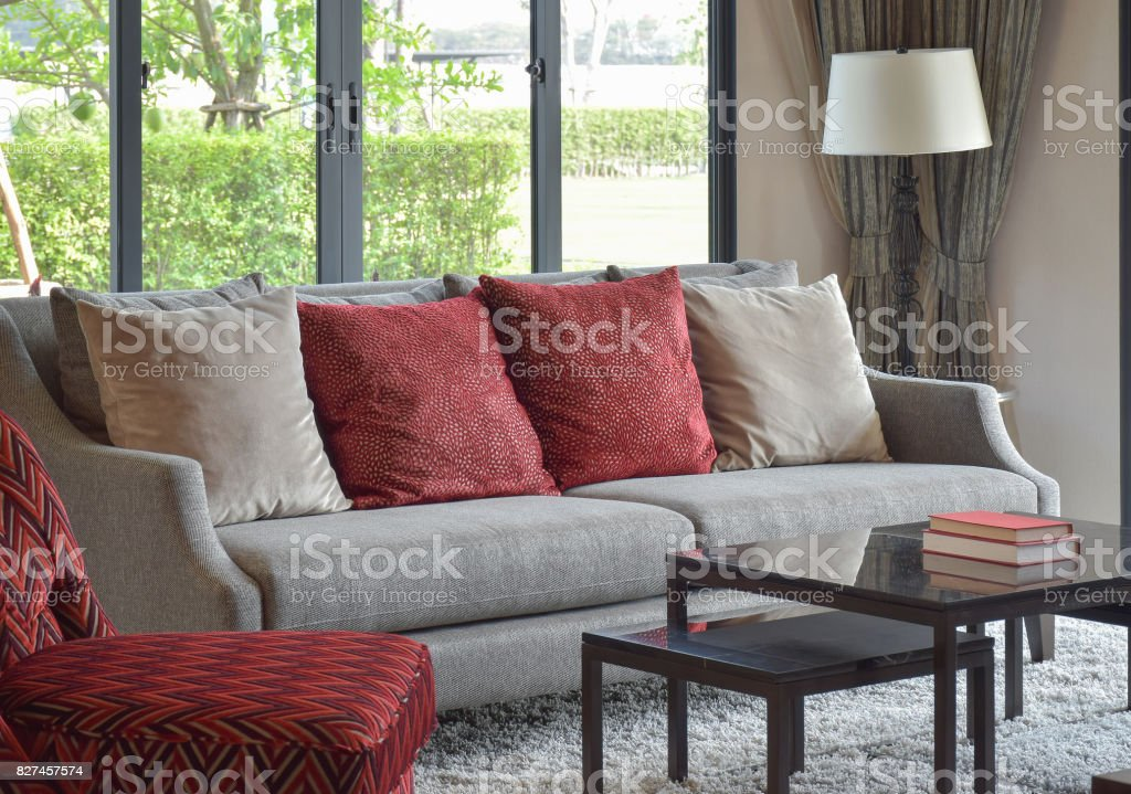 Astonishing Modern Living Room Design With Red Pillows On Sofa And Alphanode Cool Chair Designs And Ideas Alphanodeonline