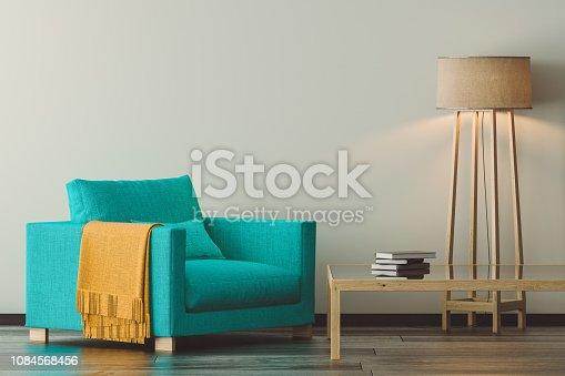 3D render image of interior design. Scandinavian style living room.