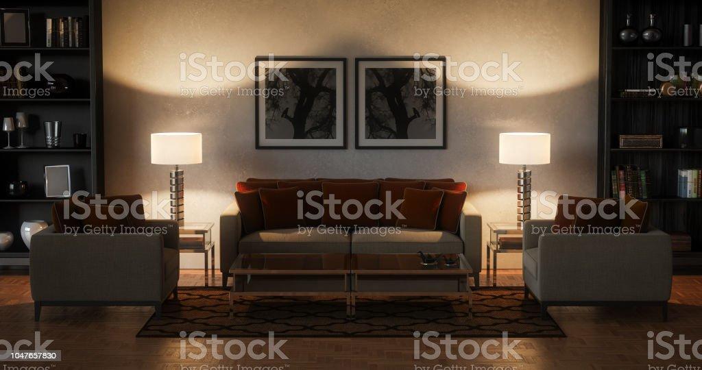 Moderne Wohnzimmer   Abend (17:9) U2013 Foto