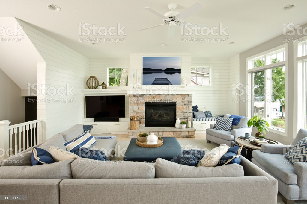 Modern Living Room Home Interior Design With Fireplace And Television Stock  Photo - Download Image Now