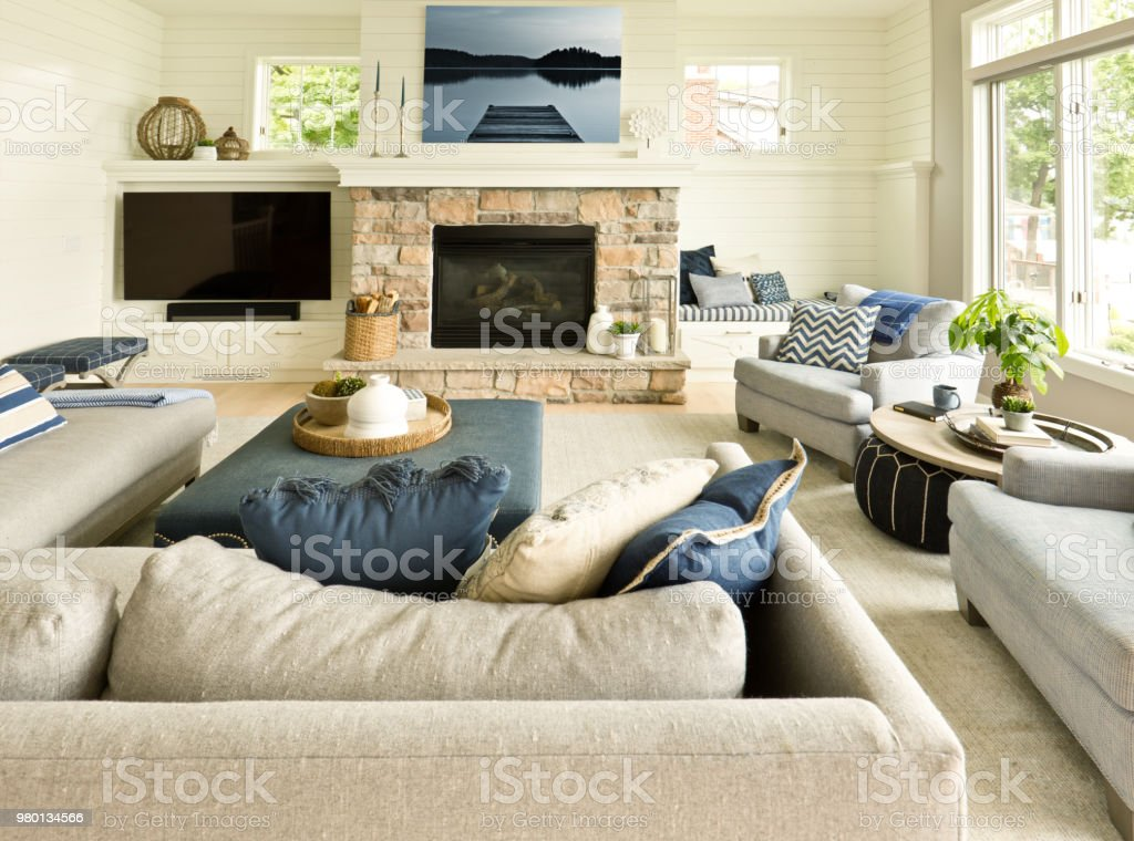 Modern Living Room Home Interior Design With Fireplace And Television Stock Photo Download Image Now Istock