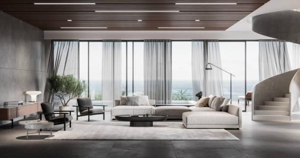 modernt vardagsrum i 3d - rikedom bildbanksfoton och bilder