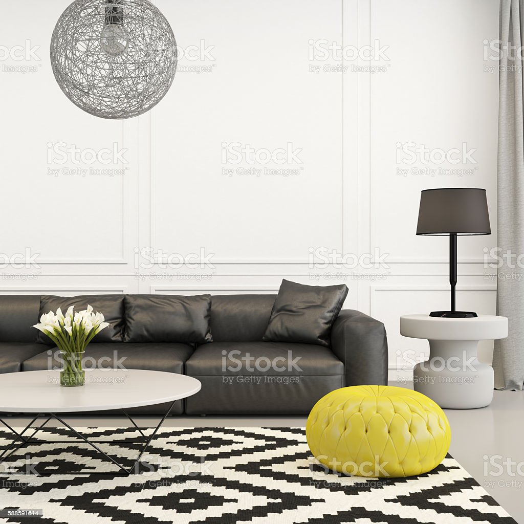 Modern living room in black and white with yellow seat stock photo