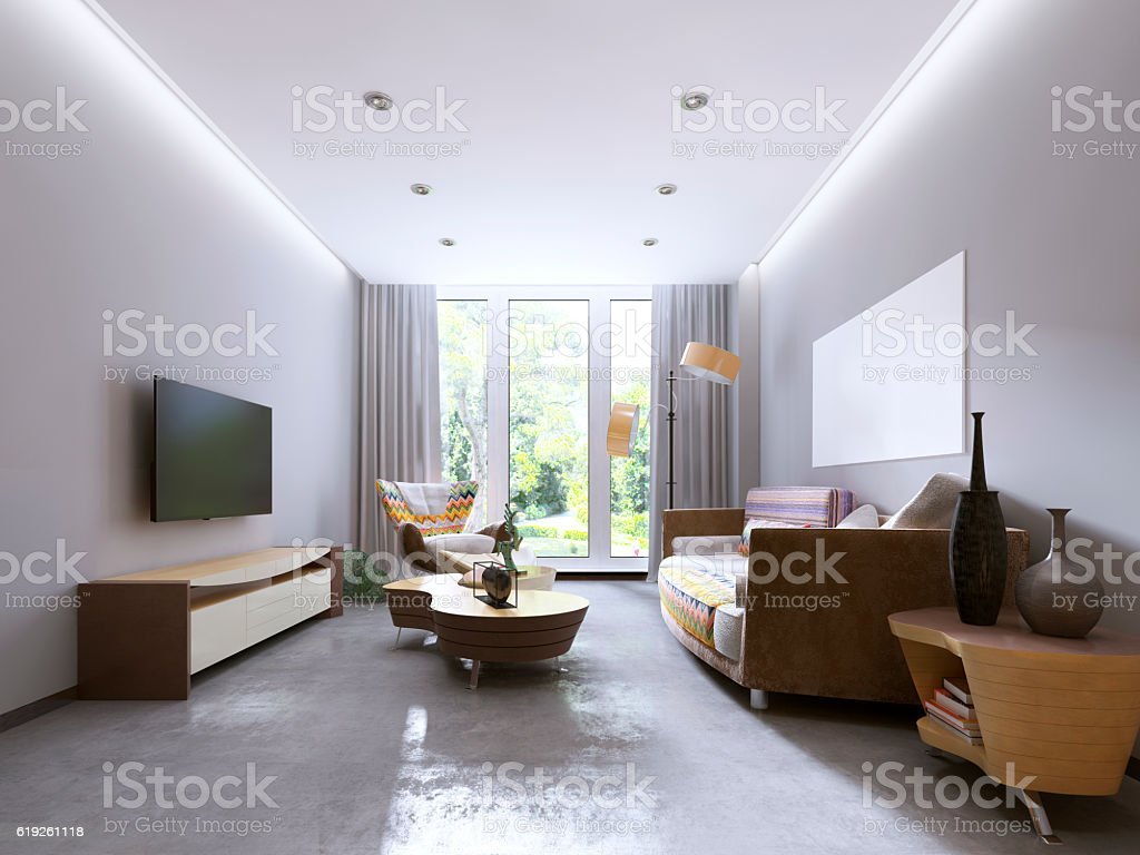 Modern Living Room In Kitsch Style. Stock Photo