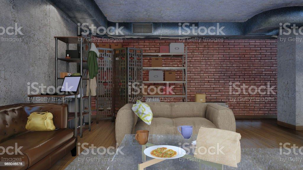Modernes Wohnzimmer In Loft Wohnung 3d Design Stockfoto und ...