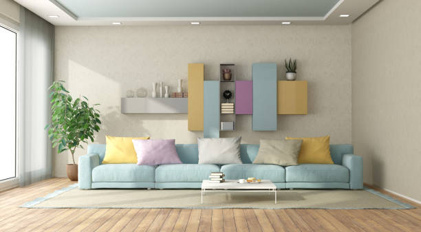 Modern living room in pastel colors stock photo