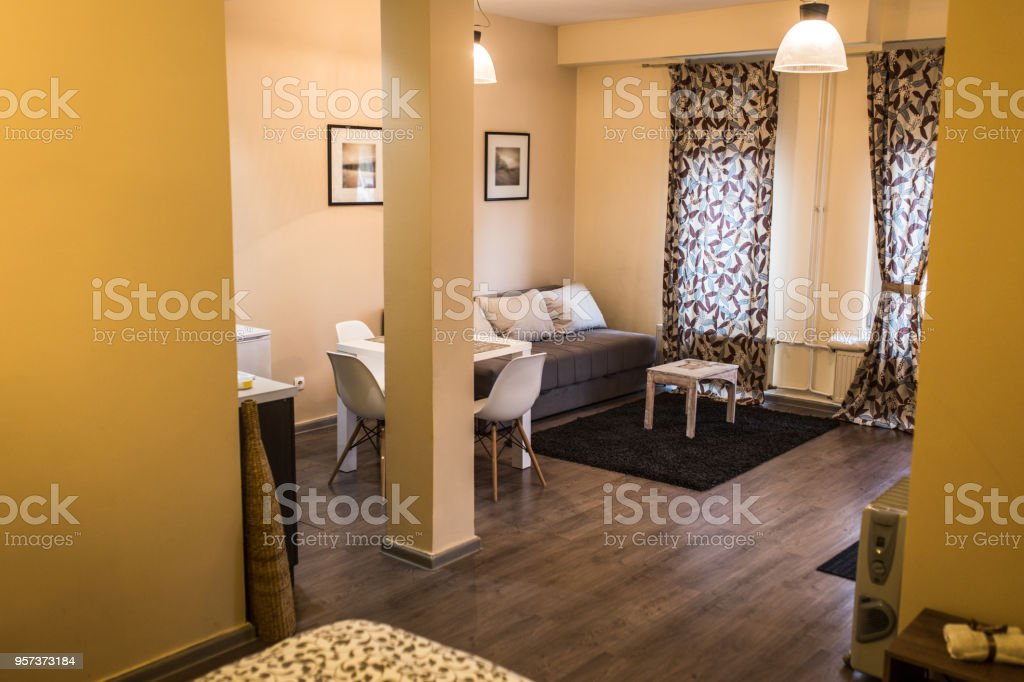 Modern living room in small apartment stock photo