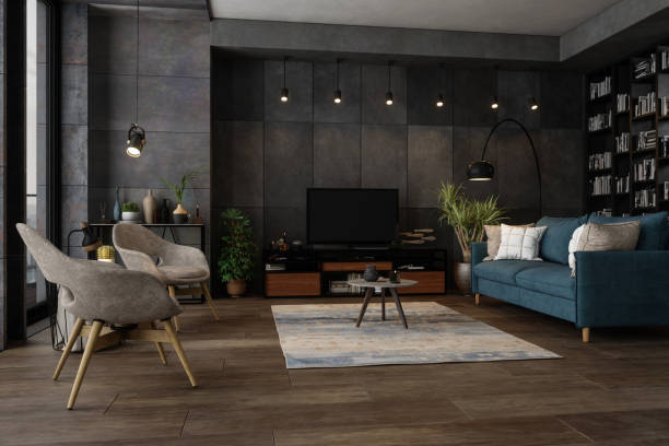 Modernes Wohnzimmer am Abend – Foto