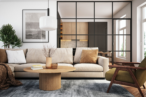 Living room 3d render with beige and green colored furniture and wooden elements