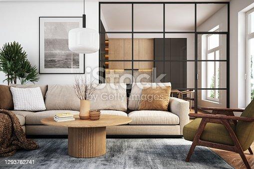 Moderno salón interior - 3d render