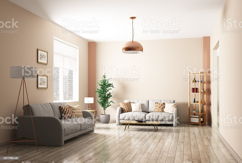 Modern living room interior 3d rendering royalty-free stock photo
