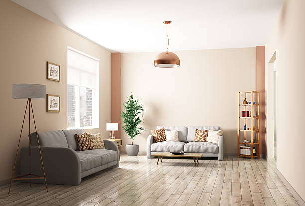 modern living room interior 3d rendering - hartholz stock-fotos und bilder