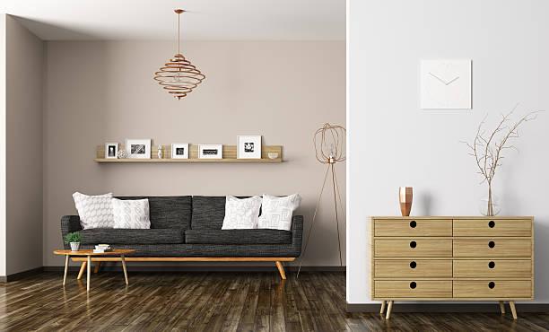 modern living room interior 3d rendering - schubladenkommode weiß stock-fotos und bilder