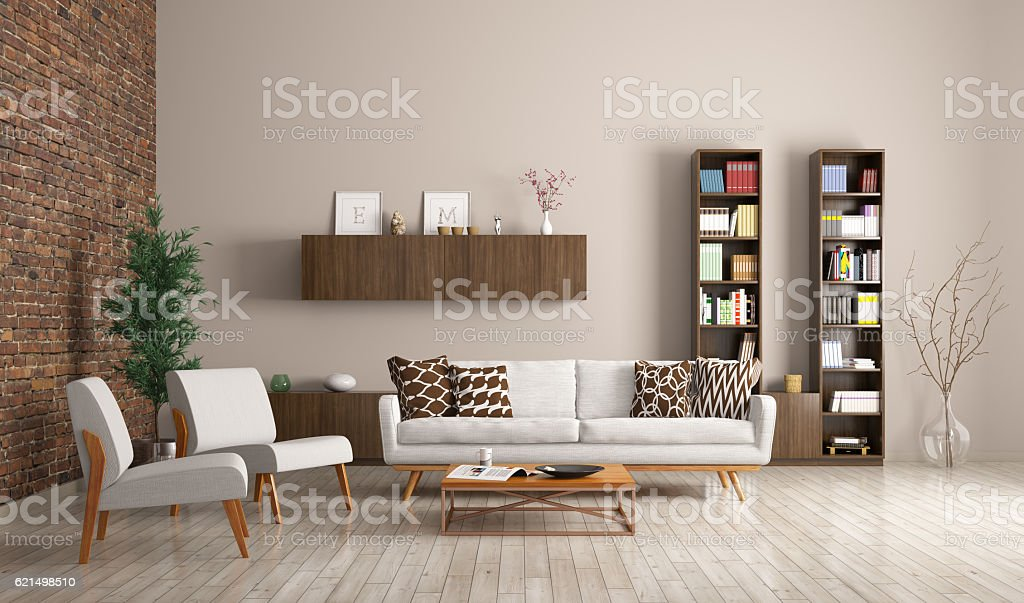 Modern living room interior 3d rendering foto stock royalty-free