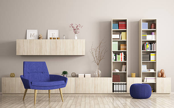 modern living room interior 3d rendering - sideboard skandinavisch stock-fotos und bilder