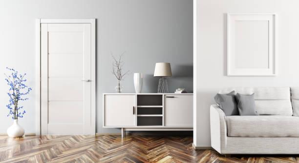 Modern living room interior 3d rendering stock photo