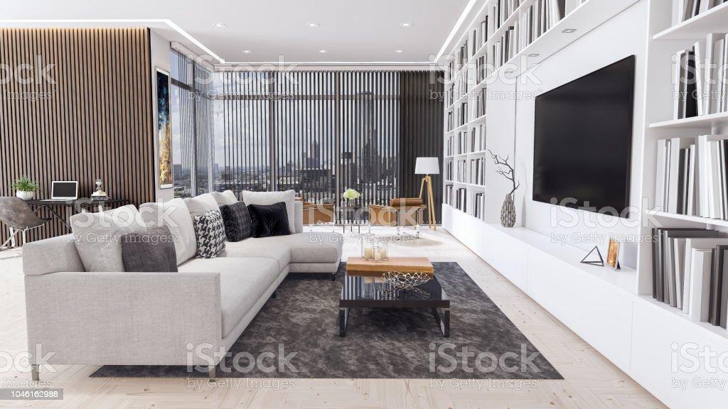 Moderne Wohnzimmer Interior Design 3d Render Stockfoto und mehr ...