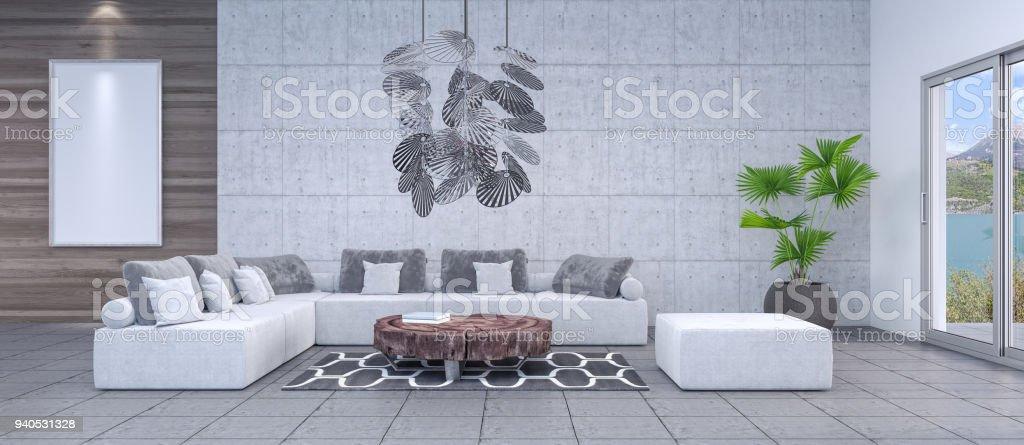 Moderne Woonkamer Interieur 3d Render Stockfoto en meer beelden van ...