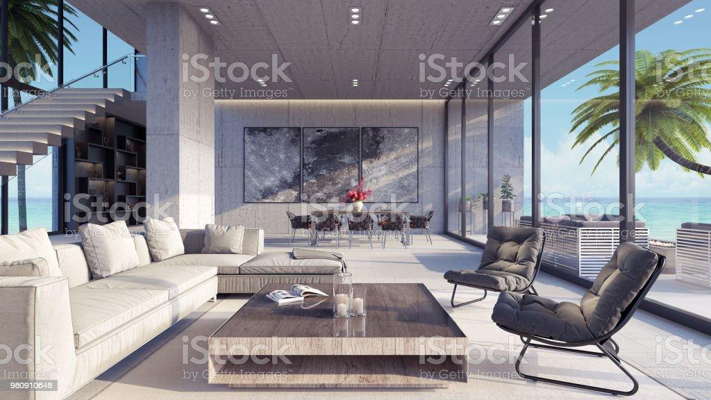 Moderne Wohnzimmer Interior Design 3d Render Stockfoto und ...