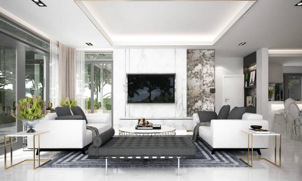 nowoczesny wystrój wnętrz w salonie i telewizor lcd i spiżarnia oraz tło z widokiem na ogród - luksus zdjęcia i obrazy z banku zdjęć