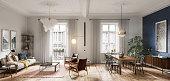 istock Modern living room interior design in 3d 1266344111