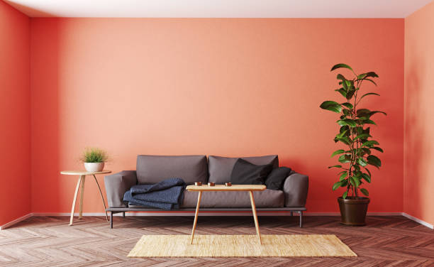 modern living room interior design. modern living room interior design. 3d rendering living coral concept coral colored stock pictures, royalty-free photos & images