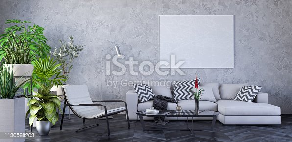 988616560 istock photo Modern Living room, interior design with green plants 3D Render 1130568203