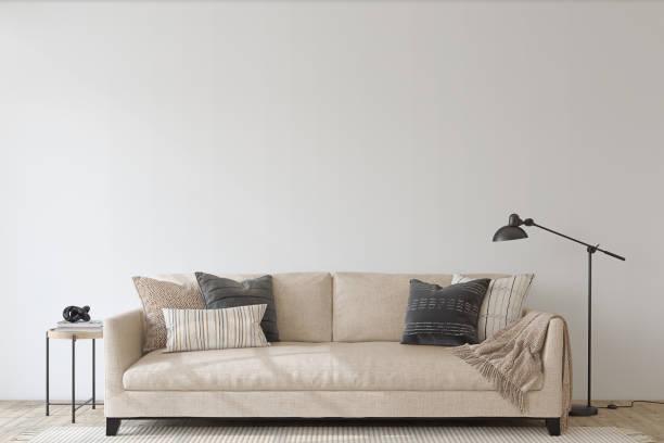 Modern living room interior. Interior mockup. 3d render. stock photo