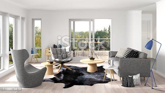 Modern living room interior. Render image.
