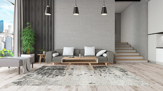 Modern Living Room Interior. 3d Render
