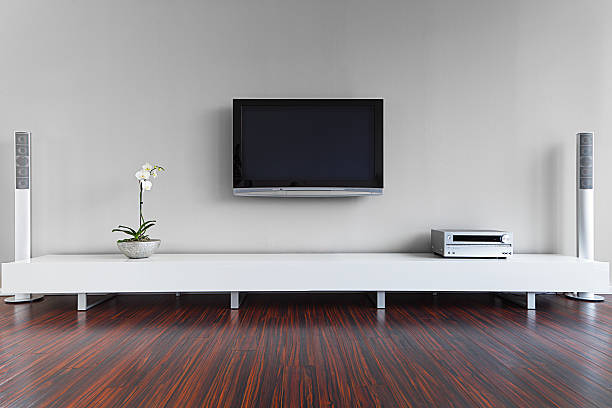 modern living room interior - flat screen stock photos and pictures