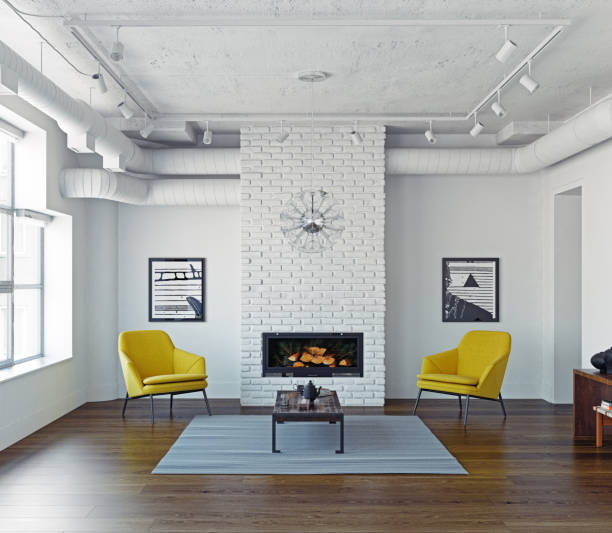 modernen wohnzimmer interior - kamin weiß stock-fotos und bilder