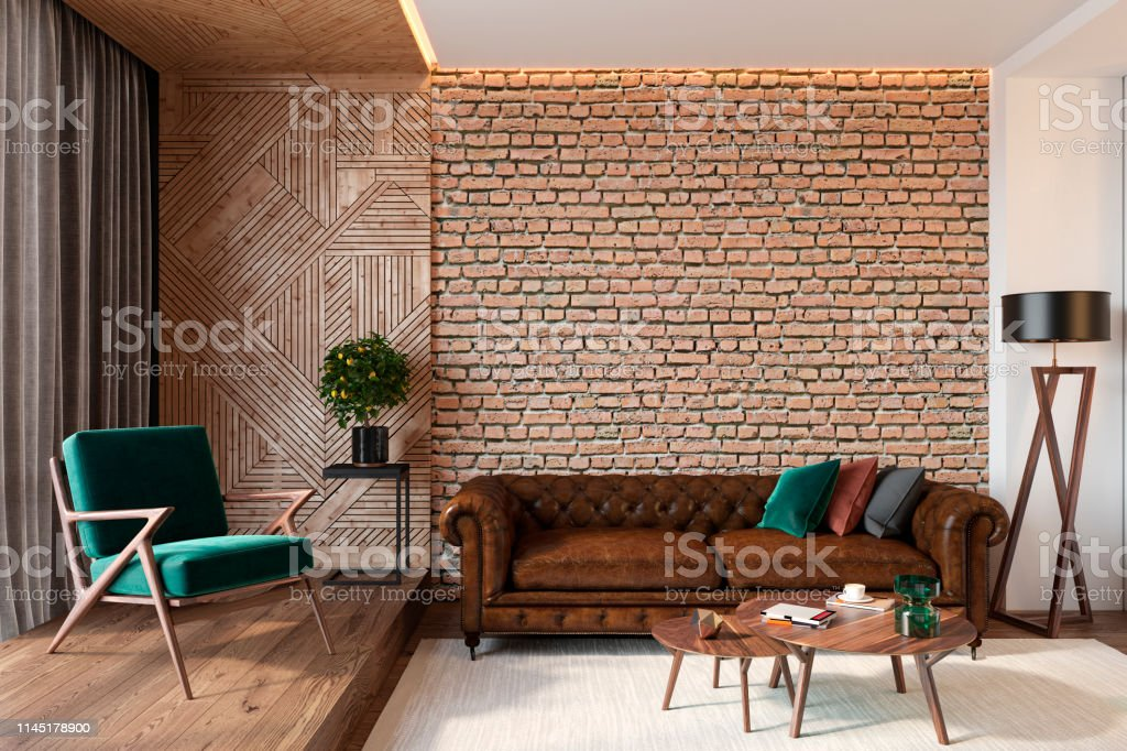 Modern Living Room Interior With Brick Wall Blank Wall Leather Brown Sofa  Green Lounge Chair Table Wooden Wall And Floor Plants Carpet Hidden  Lighting ...