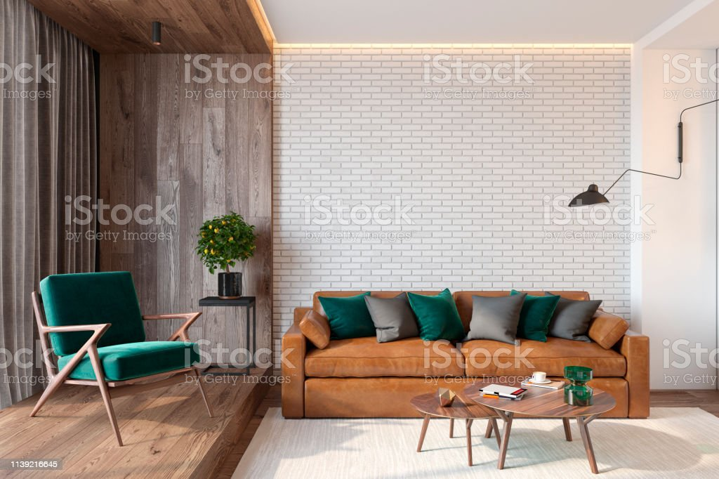 Sensational Modern Living Room Interior With Brick Wall Blank Wall Sofa Ibusinesslaw Wood Chair Design Ideas Ibusinesslaworg