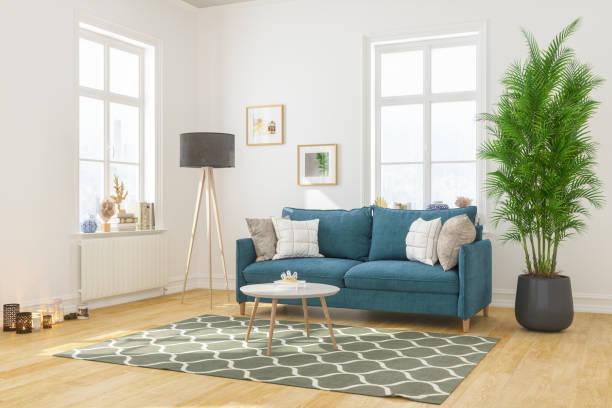 Modernes Wohnzimmer-Interieur mit bequemem Sofa – Foto