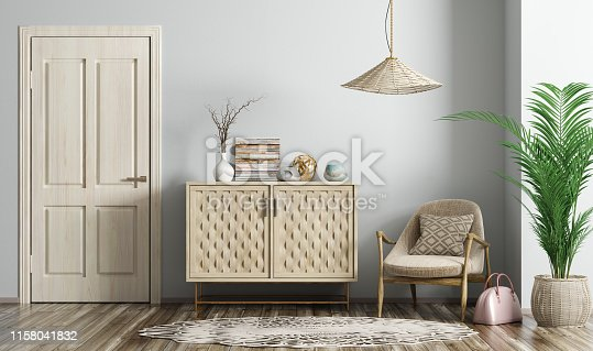 Modern interior of living room with wooden door, beige armchair and dresser 3d rendering
