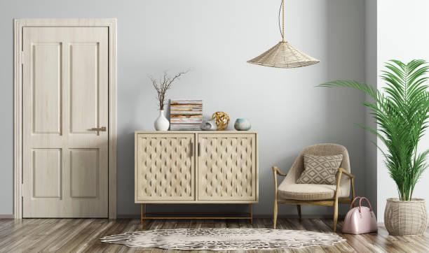 modern living room interior with door and armchair 3d rendering - sideboard imagens e fotografias de stock