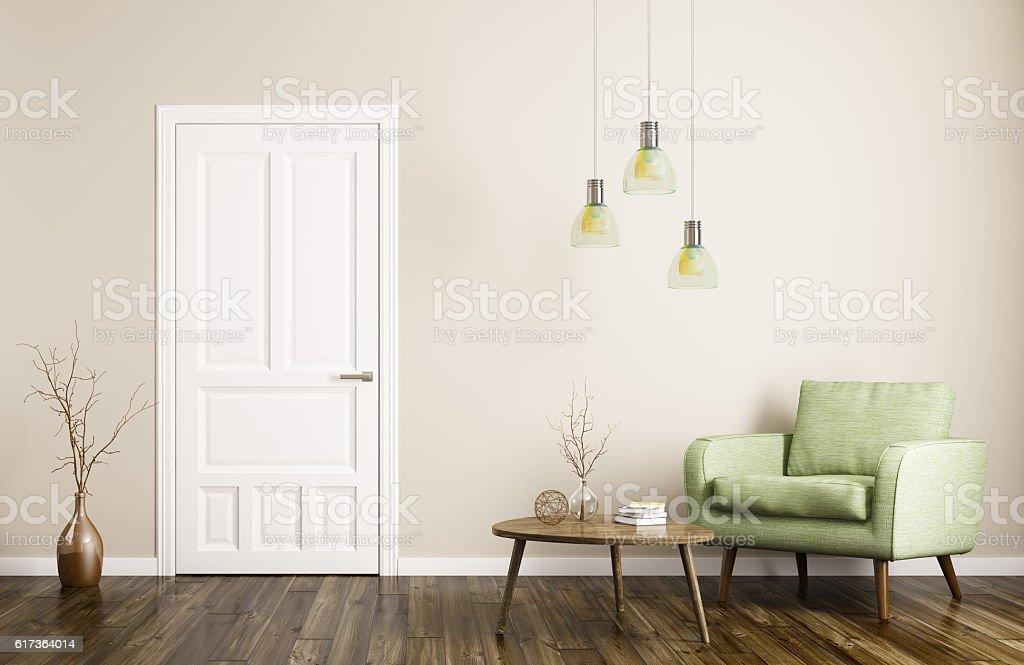 Modern living room interior with door and armchair 3d rendering
