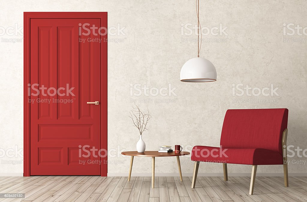 Modern living room interior with door and armchair 3d rendering stock photo