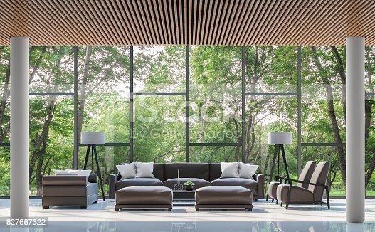 istock Modern living room interior with garden view 3d rendering image 827667322