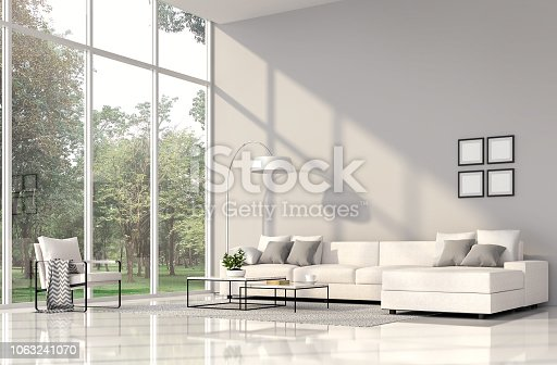 1066863894 istock photo Modern living room interior with nature view 3d render 1063241070