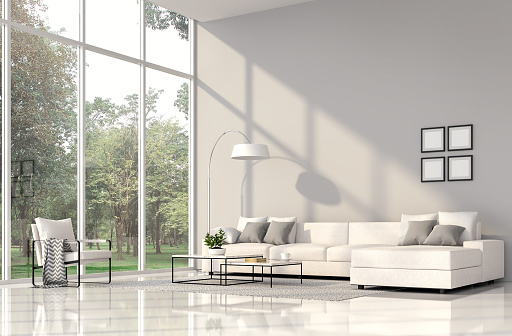 istock Modern living room interior with nature view 3d render 1063241070