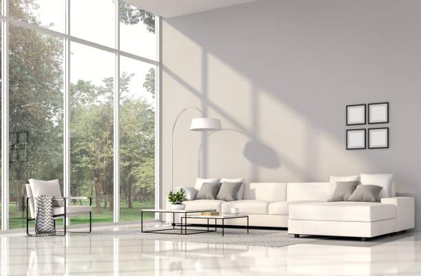 moderna sala interior com natureza vista 3d render - alto descrição geral - fotografias e filmes do acervo