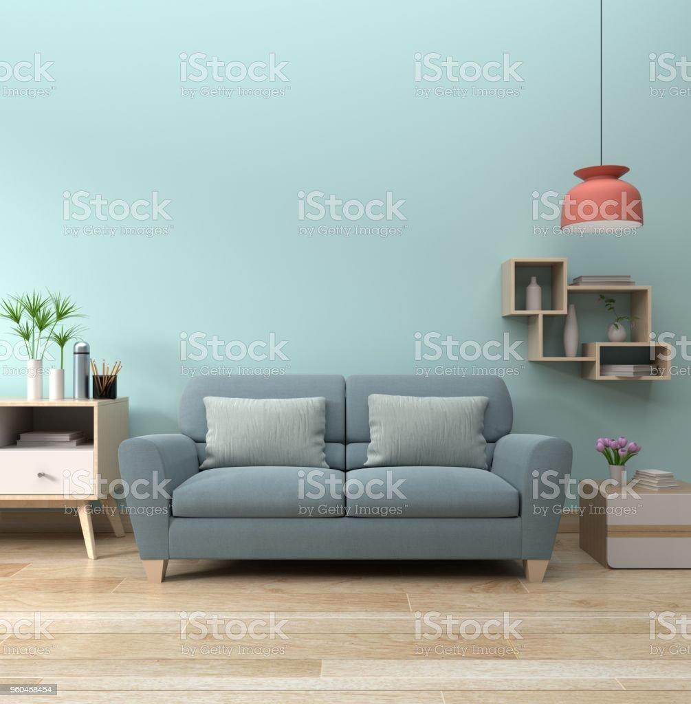 Moderne Wohnzimmer Interieur Mit Sofa Lampe Und Grünpflanzen ...