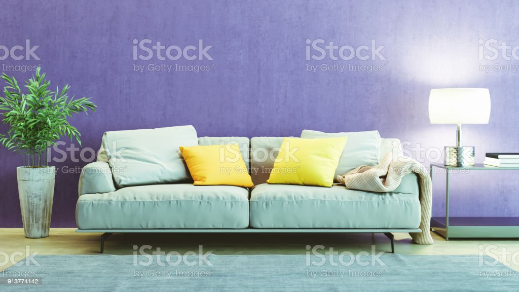 Modern Living Room Interior With Ultra Violet Colored Wall Stock
