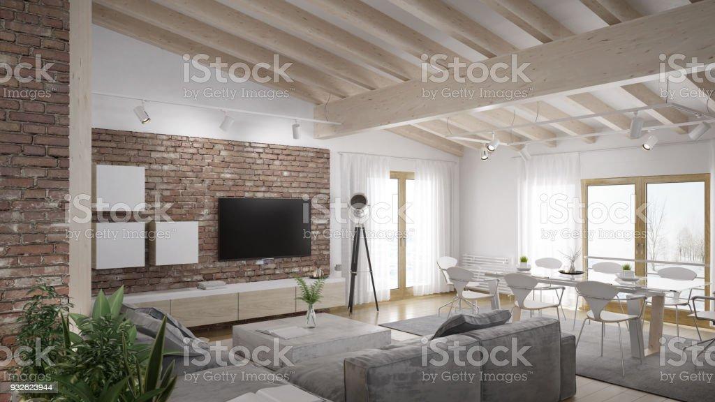 Moderne Wohnzimmer Loft Mit Holzdecke Stockfoto und mehr Bilder von  Architektur
