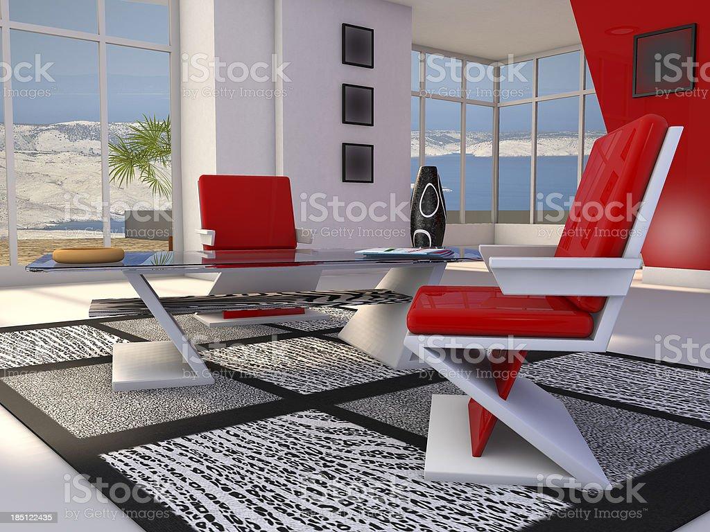 Modern living room of a holiday villa stock photo