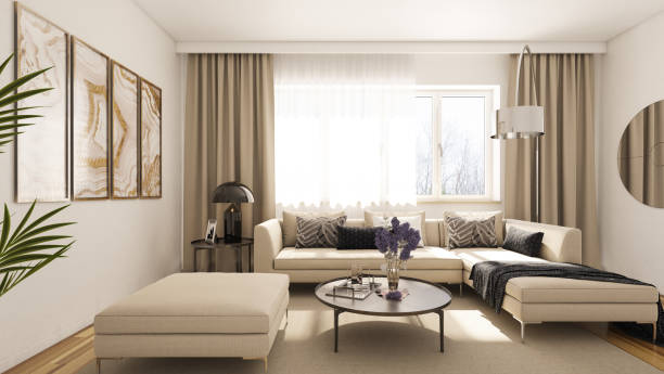 modern living room - curtain stock pictures, royalty-free photos & images