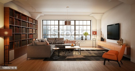 Digitally generated elegant and modern loft interior scene (living room).  The scene was rendered with photorealistic shaders and lighting in Autodesk® 3ds Max 2016 with V-Ray 3.6 with some post-production added.